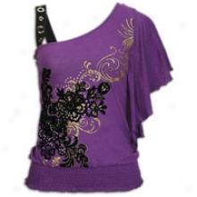 Southpole Fashion One Shoulder Top - Womens - Purple