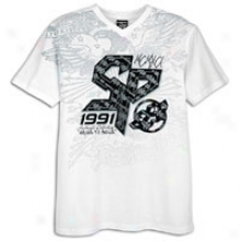 Southpole Flock & Screen Impression V-neck S/s T-shrt - Mens - White