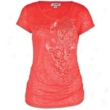Southpole Flocked Floral Scp Nk Sd Ruched T-shrt - Womens - Watermelon