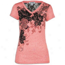 Southpole Flocked Floral V-neck T-shirt W/ Lace - Womens - Watermelon
