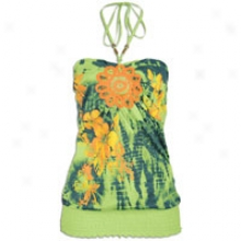 Southpole Floral Halter W/ Coneast Crochet Color - Womens - Lime Green