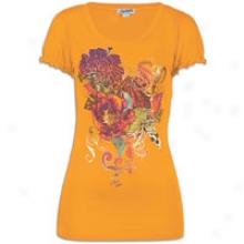Southpole Floral V-nck T-shirt W/ Ruffle Slv Det - Womens - Sin Orange