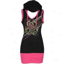 Southpole Hoodie Sleeveldss Dress - Womens - Black