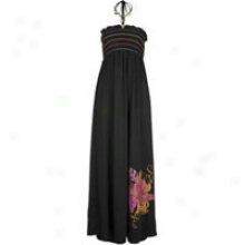 South0ole Maxi Halter Dress W/ Floral Print - Womens-  Black