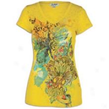 Southpole Multicolor W/gold Glitter V-nk T-shirt - Womens - Lemon Yellow