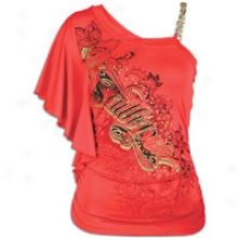 Southpole One Projection Side Ruched Logo Top - Womens - Watermelon