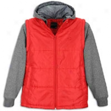 Southpole Padding Vest W/ Flc Hood And Sleeves - Mens - Red