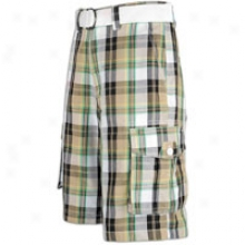Southpole Plaid Twill Cargo Shorts - Mens - Dark Khaki
