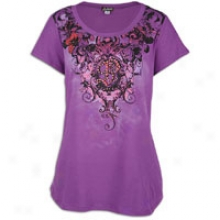 Southpole Plus Size Floral Excavate Neck Tee - Womens - Purple