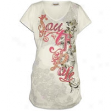 Southpole Plus Sizing Logo Floral Cistern Top - Womens - Cream
