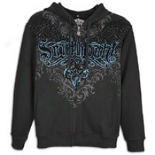 Southpole Premium Riddle And Flock Print Hoodie - Mens - Black