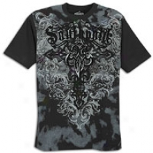 Southpole Premium Screen And Flock Print T-shirt - Mens - Black