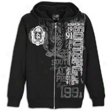 Southpoel Preppy Screen And Flock Print Hoodie - Mens - Black