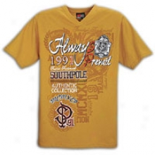 Southpole Preppy V-neck Screen Print T-shirt - Mens - Khaki Brown