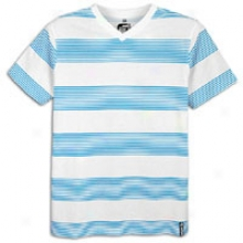 Southpole Printed Stripe V-neck T-shirt - Mens - Ocean Blue