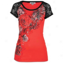 Southpole Raglan Lace Floral S/s T-shirt - Womens - Watermelon