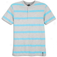 Southpole Slim Fit Henley S/s Stripe T-shirt - Mens - Aqua Blue
