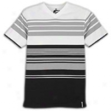 Southpole Thick Stripe V-neck T-shirt - Mens - White