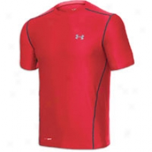 Under Armour Heatgear Fitted Base S/s Crew - Mens - Red/charcoal/steel
