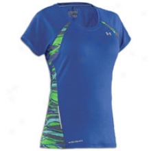 Under Armour W Coldblack Fragments Run T-shirt - Womens - Wish/jade River