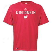 Wisconsin Adidas College Climalite Sideline T-shirt - Mens - Red