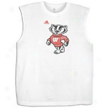 Wisconsin Adidas College Second Most good Logo Sleeveless Shirt - Mens - White