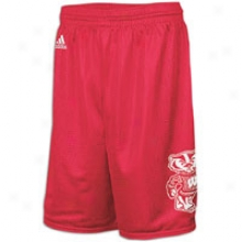 Wisconsin Adidas College Super Logo Mesh Short - Mens - Seminary of learning Red