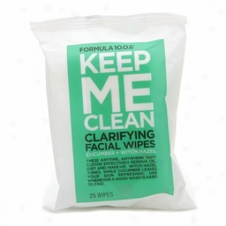 10.0.6 Keep Me Clean Clarifying Facial Wipss, Cucumber + Witch Hazel