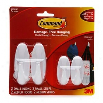 3m Command Strips Damage-free Hanging:  General Purpose Designer Hook Set, 2 Samll / 2 Medium Hooks