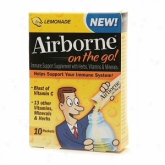 Airborne On The Go! Immune Support Supplement With Herbs, Vitamins & Minerals, Lemonade