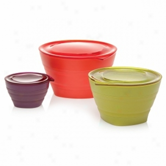 Aladdin 3 Collapsible Bowl Set, Lunch Size:  32oz, 16oz & 4oz, Timato, Egggplant & Lettuce