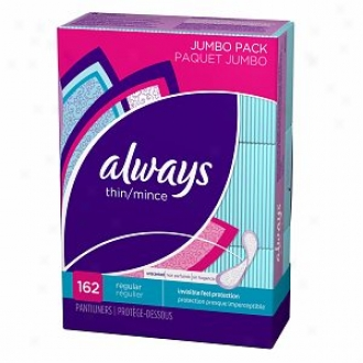 Always Radiant Incredibly Thin Liners, Unscented, Jumbo Pack, Regular, 162 Ea