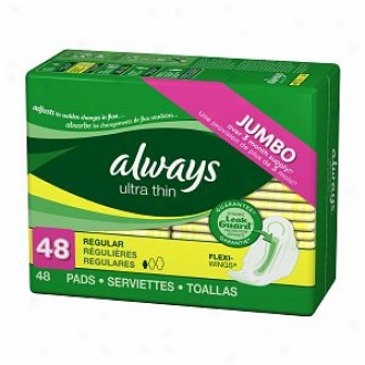 Always Ultra Thin Pads With Flexi Wings, Unscented, Regular, 48 Ea