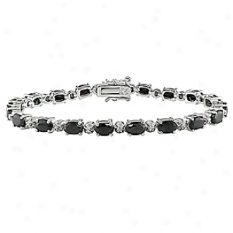 Amour 0.02 Ct Diamond Tw And 11 1/6 Ct Tgw Sapphire Bracelet 7.25in, Black And Silver