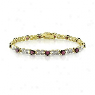 Amour 0.02 Ct Diamond Tw And 6 7/8 Ct Tgw Garnet Bracelet 7.25in, Red And White