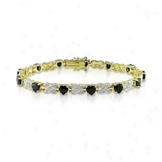 Amour 0.02 Ct Diamond Tw And 7 4/5 Ct Tgw Sapphire Bracelet 7.5in, White An dBlack
