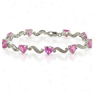 Amour 0.02 Ct Diamond Tw And 8 4/5 Ct Tgw Creaed Sapphire Bracelet Silver Ghi 13 7in, Pink