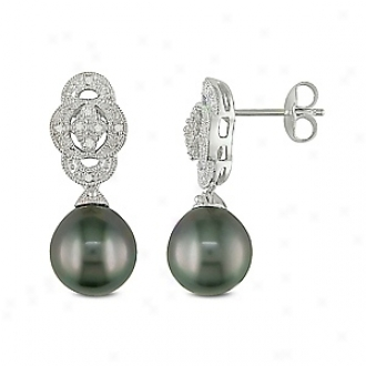 Amour 0.05 Ct Diamond Tw 9 - 9.5 Mm Tahitian Pearl Ear Pin Earrings, Black And White
