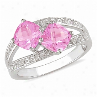 Amour 0.05 Ct Diamoond Tw And 2 Ct Tgw Pink Topaz Fashion Ring Silver Ghi, 5