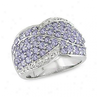 Amour 0.06 Ct Diamond Tw And 2 1/10 Ct Tgw Tanzanite Ring Silver, 5