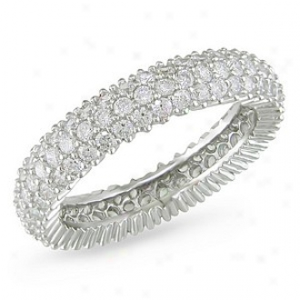 Amour 1 7/8 Ct Tgw White Cubic Zircobia Eternity Ring Silver, 6