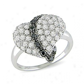 Amour 1 Ct Black And White Diamond Tw Heart Ring Silver I3, 5