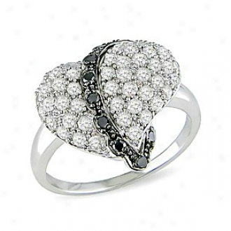 Amour 1 Ct Black And Pure Diamond Tw Heart Ring Silvver I3, 9