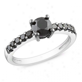 Amour 1 Ct Blac Diamond Tw Engagemment Ring Silver  Black Rhodium Plated, 5