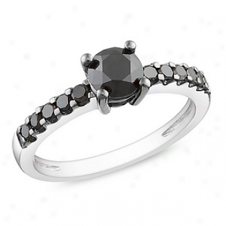 Amour 1 Ct Black Diamond Tw Engagement Ring Silver  Black Rhodium Plated, 7