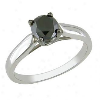 Amour 1 Ct Black Diamond Tw Fashion Ring Silver Black Rhodium Plated, 7