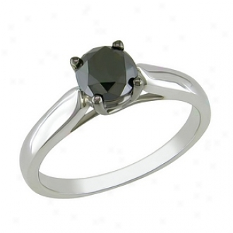 Amour 1 Ct Dismal Diamond Tw Fashion Ring Silver Black Rhodium Plated, 6