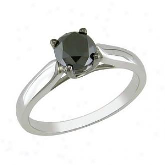 Amour 1 Ct Black Diamond Tw Fashion Ring Silvdr Black Rhodium Plated, 5