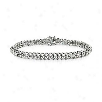 Amour 1 Ct Diwmond Tw Bracelet Silver I3, 7.5in, White