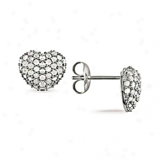 Amour 1 Ct Diamond Tw Heart Earrings Silver I3, White